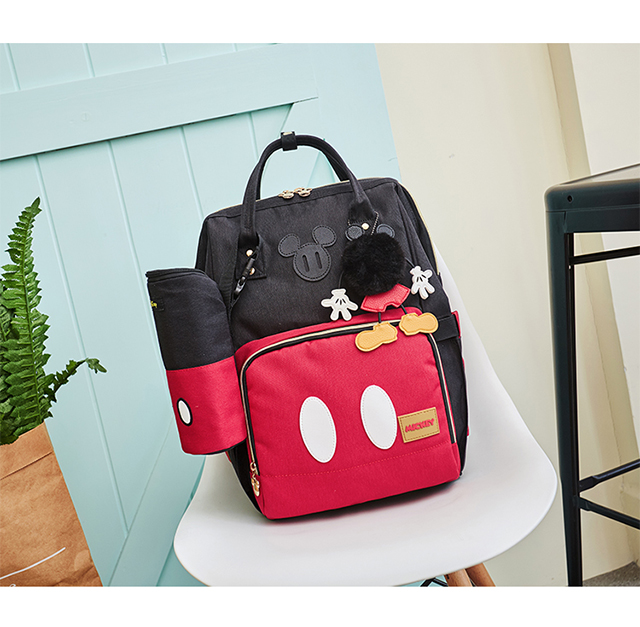 Disney Minnie Mickey Classic Red Diaper Bags 2PCS/SET Mummy Maternity Backpack Nappy Bag Large Capacity Baby Bag Travel 3D Doll