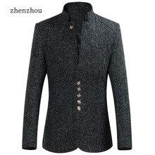 Коммерческой Блейзер Для мужчин осень 2017 г. Новый стиль воротник мужской пиджак Slim Fit Для мужчин S Блейзер Куртка Плюс Размеры M-5XL 6XL высокое качество