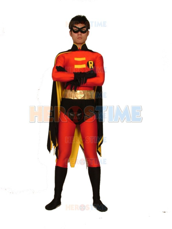Batman Series Robin Spandex Superhero Costume red and black fullbody zentai suit with cape