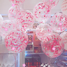 5pcs 12 inch Pink Latex Helium Balloons Confetti Inflatable Wedding Decorations Air Balls Happy Birthday Party Supplies