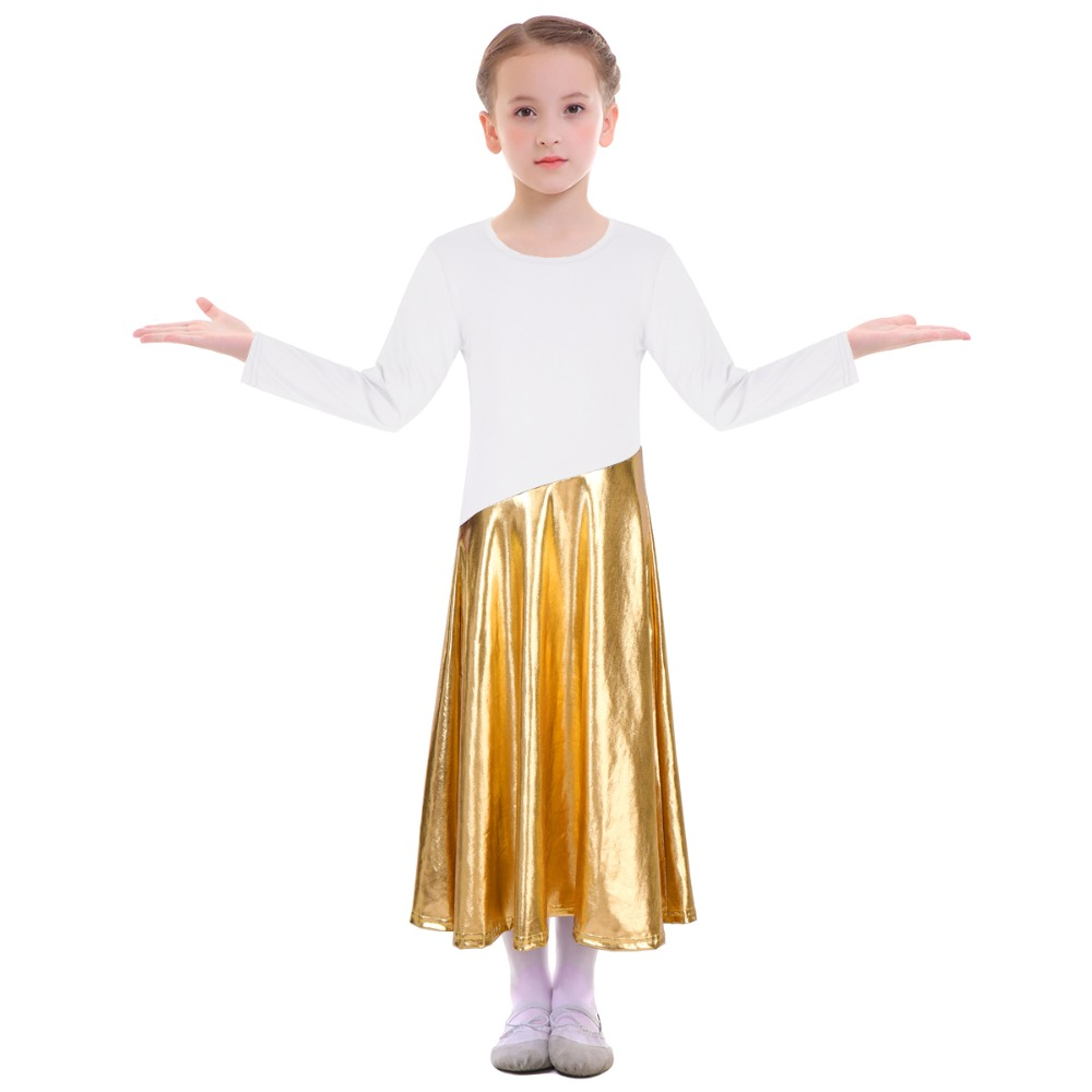 2019 Girls Praise Dress Kids Metallic Shiny Church Liturgical Dance Wear Worship Costume Children Girls Ballet Dance Dress Girls in Ballet from Novelty Special Use