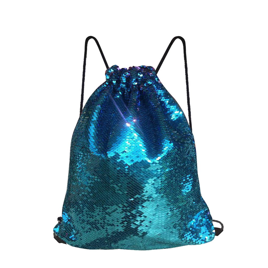 Drawstring Bags Fashion Metallic Sequins Colorful Package Patchwork Color Wild Travel Bags Shiny Drawstring Bag Mochilas +