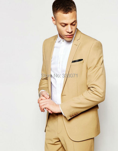 cb0397f0a9933 Tailor made Champagne Tan Groom Tuxedos Casual Man Suit Slim Fit Mens  Wedding Prom Party Suits Bridegroom Attire(Jacket+Pants)