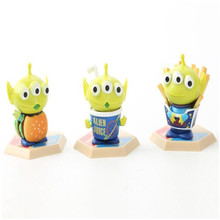 new 3pieces/lot mini 4.5cm pvc the aliens three eye monster doll Festival gift Gifts for children