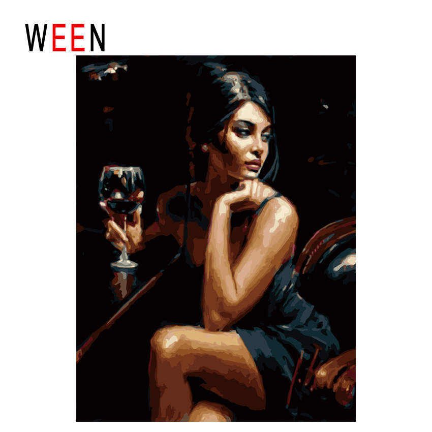 WEEN Woman Drinking-DIY Oil Painting By Numbers,Framed Wall Picture,Oil Canvas Paint By Numbers Home Decor Picture 40x50cm