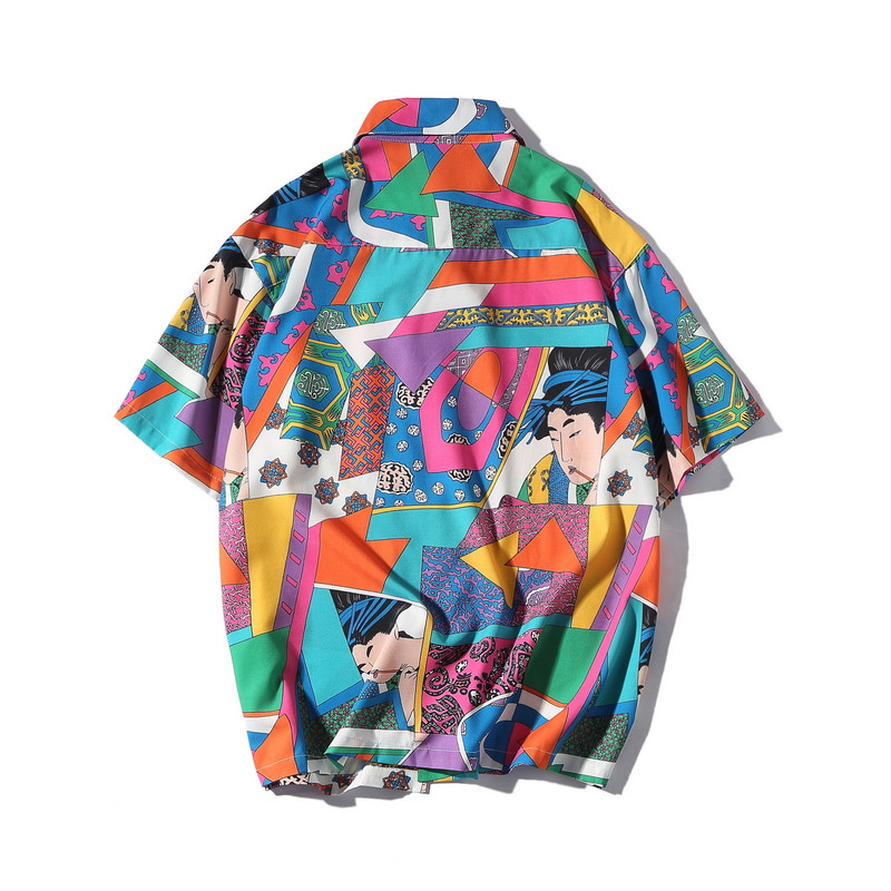 Bebovizi Brand Japanese Ukiyo E Shirt Harajuku Hip Hop Color Block Short Sleeve Shirt Casual Streetwear Loose Hawaiian Shirt