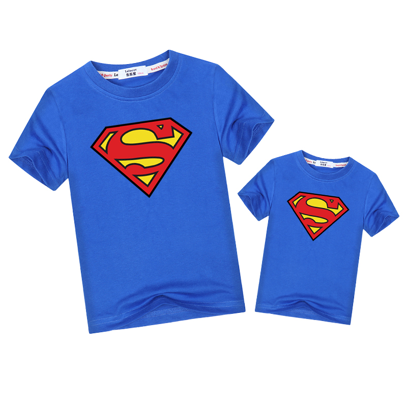 2019 Superman T-shirt Father Son Family Match Outfits Fashion Short Sleeve Tops Dad Kid Boys Family Look Clothes Matching Shirt