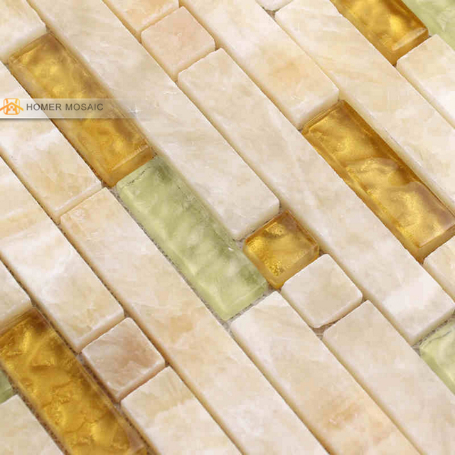 Crema blanco vidrio mezclado piedra azulejos de mosaico backsplash ...