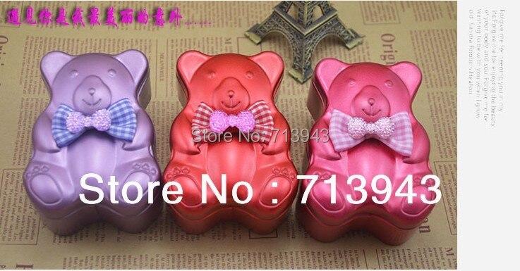 Belle ours en forme de boîte d'étain/boîte en métal de bonbons/faveur de mariage boîte de bonbons dans Boîtes De Rangement de Maison & Jardin
