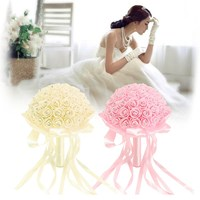 Bride Bouquet Holding Rose Artificial Flowers Pink Beige Wedding Supplies Bridesmaids Married Material Korean Style