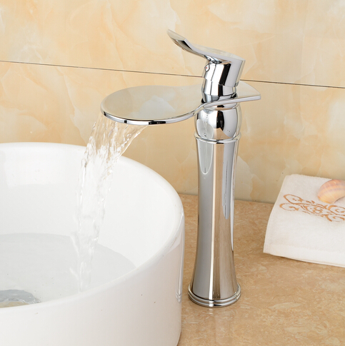Bathroom chrome basin faucet water sink mixer tap waterfall basin faucet waterfall mixer tap for bathroom sink crane china sanitary ware chrome wall mount thermostatic water tap water saver thermostatic shower faucet