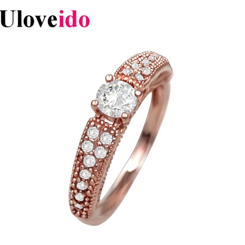 Uloveido Ring for Women Sale Wedding Rings Rose Gold Color Jewelry Bijouterie Engagement Ring Anillos Anel Masculino Aneis Y135