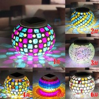New Solar Powered Mosaic Glass Ball Garden Lights Color Changing Yard Balcony Lamps Waterproof Indoor Outdoor