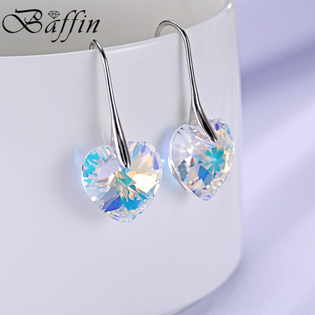 Baffin Crystal Heart Drop Earrings Made With Swarovski Elements Silver Color Hanging Piercing For Women Best Friends Gift