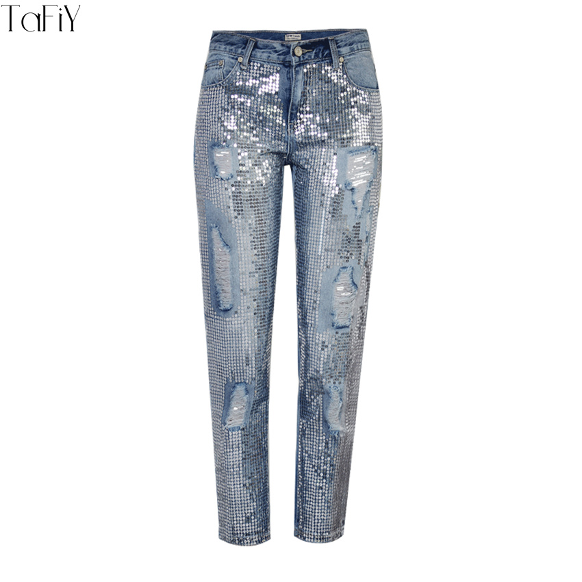 daa6f877c4f7c TaFiY 2018 New Women Jeans Ripped Holes Fashion Sequined Harem Pants Ankle  Length Pants Jeans Slim vintage jeans for women-in Jeans from Women's  Clothing on ...