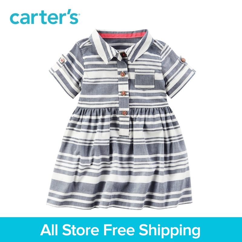 Carter's 1pcs baby children kids Striped Shirt Dress 127G315,sold by Carter's China official store carter s 1 pcs baby children kids long sleeve embroidered lace tee 253g688 sold by carter s china official store