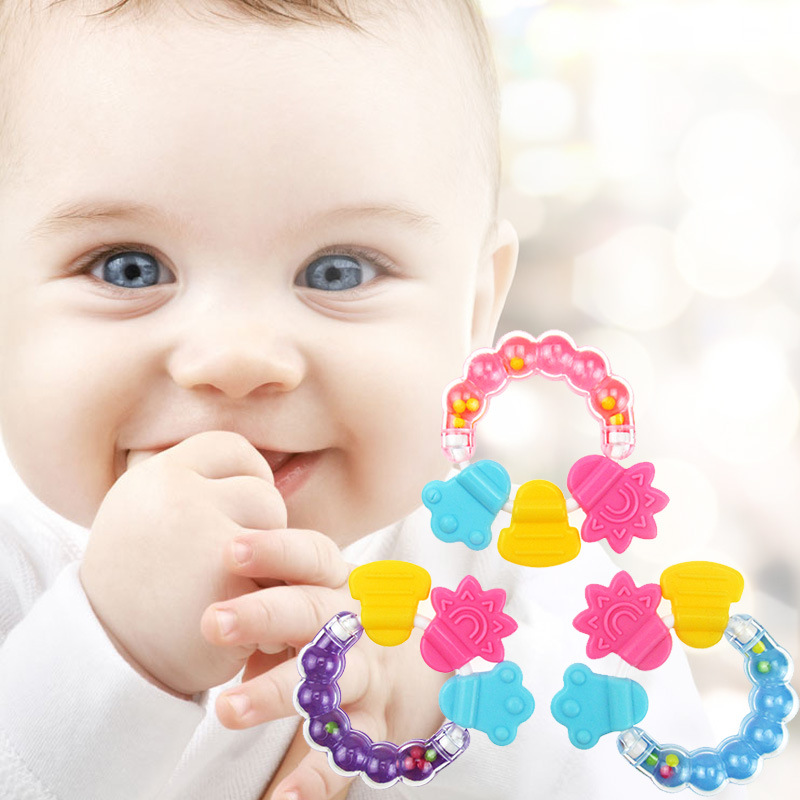 Baby Toys Soft Silicone Teether Baby Rattles Toys Baby Toys Teething Training Ring For Infant