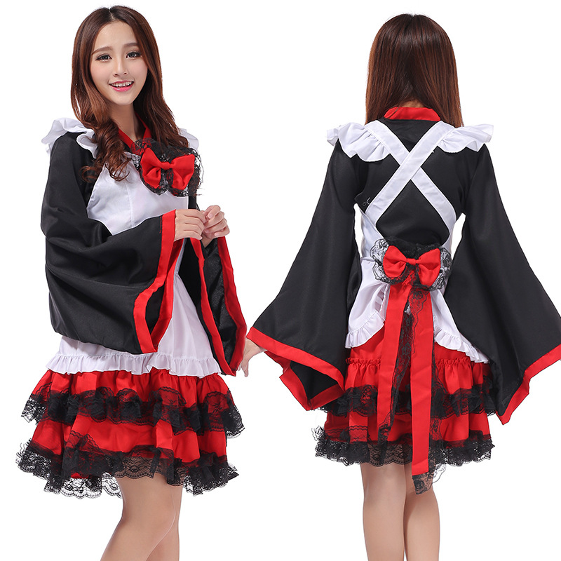 Japanese Kimono Dress Cosplay Maid Dress Lolita Dresses Carnival/Halloween Party Costumes for Women Adult Costumes