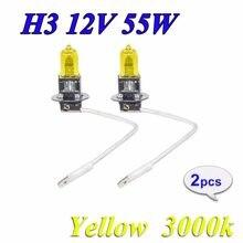Lâmpada de halogêneo h3 12v 55w, luz amarela 3000k, substituição de vidro xenon, lâmpada para carro, 2 peças (1 par)