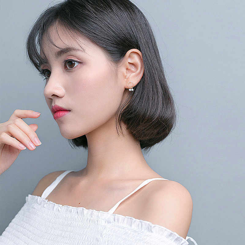 Inzatt 925 Perak OL Asimetri Mutiara Geometris Bulat Menjuntai DROP Dandelion Anting-Anting untuk Wanita Pernikahan Warna Emas Pesona Perhiasan