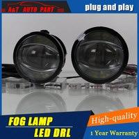 2009 2011 Car Styling Angel Eye Fog Lamp for Audi LED DRL Daytime Running Light High Low Beam Fog light Automobile Accessories