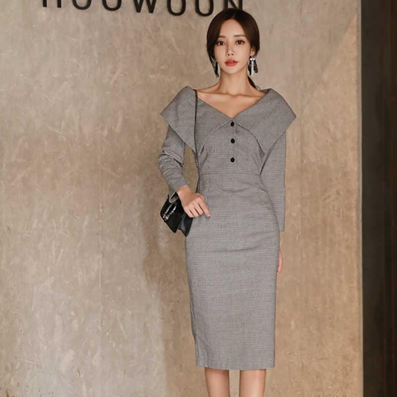 BGTEEVER винтажное женское платье-карандаш с v-образным вырезом 2018 с длинным рукавом клетчатпосылка хип женское платье офисное женское платье миди Vestidos