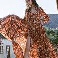 2017 mujeres de primavera marca vestido largo maxi vestidos de la impresión floral elegante de boho vestidos vestido de manga larga de volantes vestido de fiesta