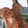 2017 women spring dress brand maxi long dresses floral printing elegant boho vestidos dress long sleeve ruffles holiday dress