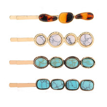 European and American Style Women Geometric Turquoise Stone Leopard Acrylic Hairpins Vintage Boho Hair Clips