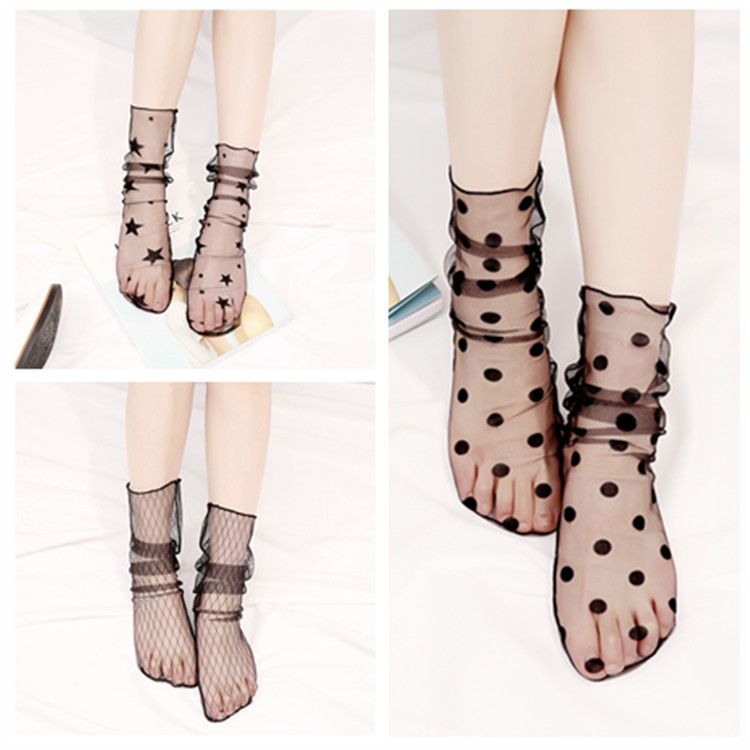 New Summer Women Ultrathin Transparent Socks Glitter Crystal Glass Silk Meias Beautiful Lace Shiny Elastic Short Socks