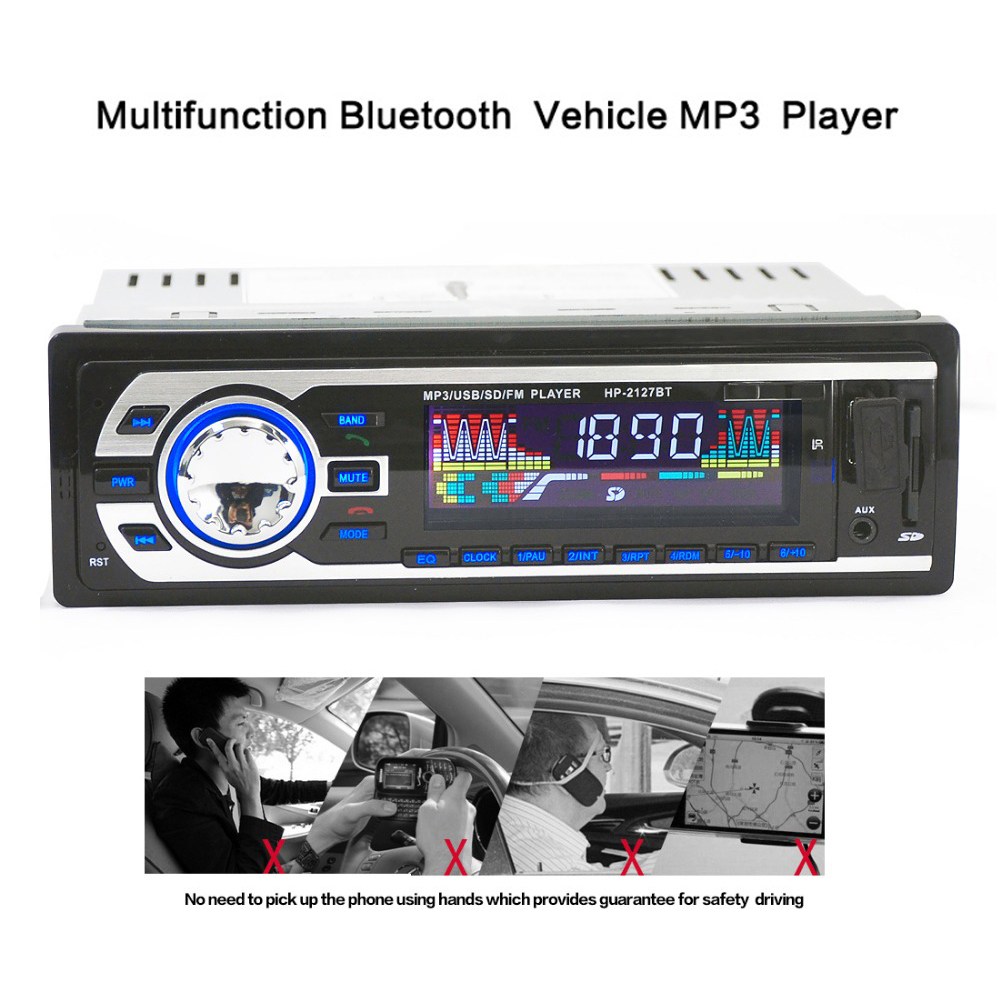 1 Din Car Audio Player In-dash Autoradio Car Radio MP3 Player tuner stereo BT FM USB/SD Port Aux-in Remote Control OLED screen ...