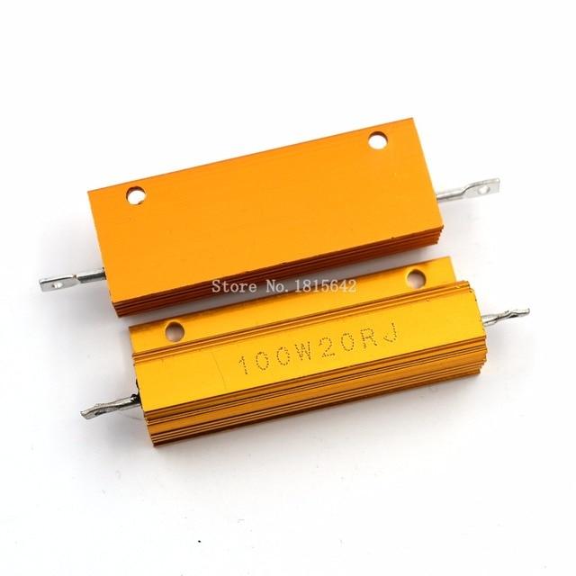 RX24 100 Вт 20r 20rj металла В виде ракушки из алюминия золото резистор высокое Мощность радиатора сопротивление Золотой теплоотвод резистор 100 ватт 20 Ом