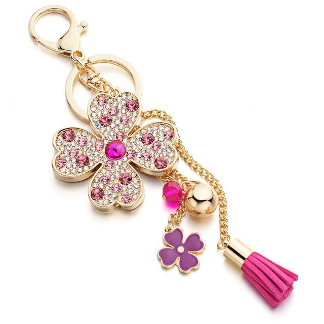 Lucky Four Leaves Clover Crystal Tassel Keychain