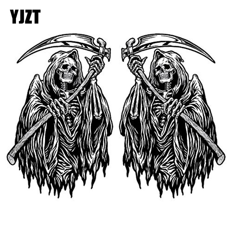 YJZT 6.5CM*10.2CM 2X DEATH SKELETON Classic Reflective Personality Car Sticker C1-7085
