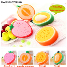 4 kinds of fruit thickening sponge  multi-functional cleaning dishes sponges kitchen supplies