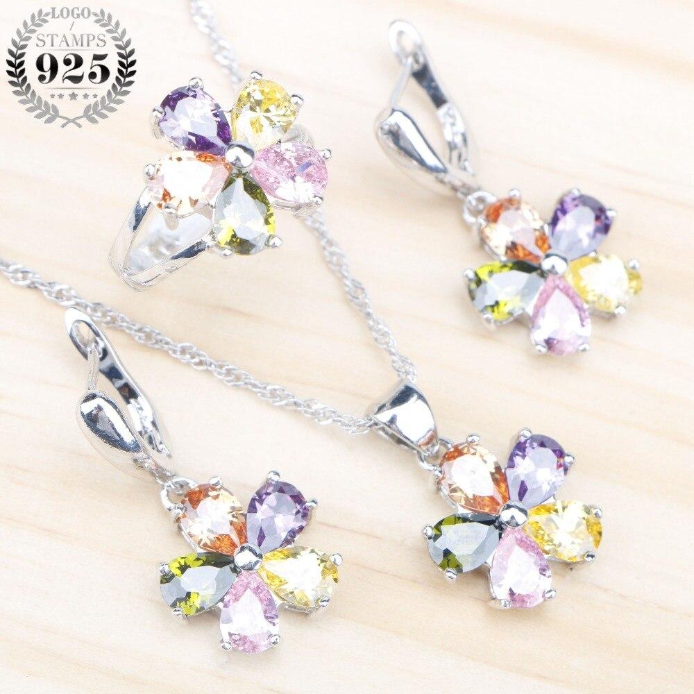 Jewelry-Sets Necklace 925-Costume Wedding-Silver Earrings-Rings Pendant Stones Zircon
