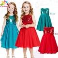 Enbaba девушки платье Без Рукавов повседневная дети девушки цветка платья для свадеб платье Appliques блестки эльза партия платье принцессы