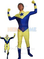 Booster Gold Superhero Costume lycra spandex male halloween cosplay costumes the most popular show zentai suit