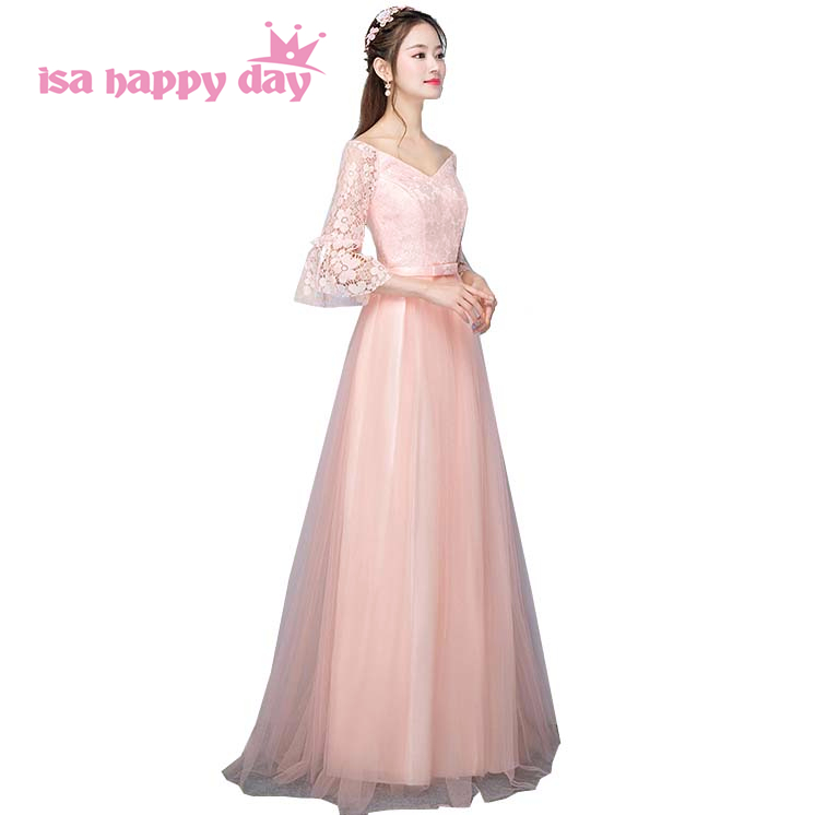 Formal Womens Long Latest Peach Tulle Lace 2018 Puffy Princess V