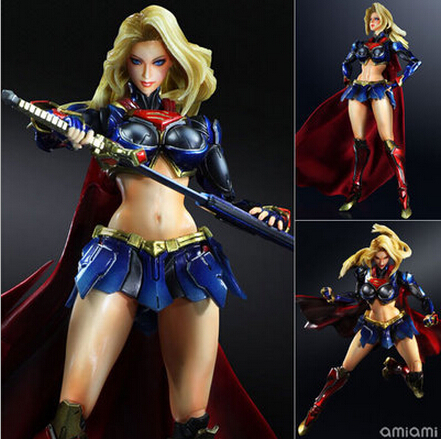 NEW hot 28cm Justice league Supergirl superman Enhanced version action figure toys collection christmas toy doll with box black long sleeves pattern front crop t shirt