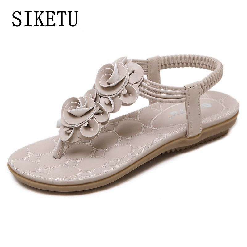 SIKETU 2017 Summer new sweet woman flat sandals bohemian flowers toe sandals women soft comfortable flip flops sandals size 41
