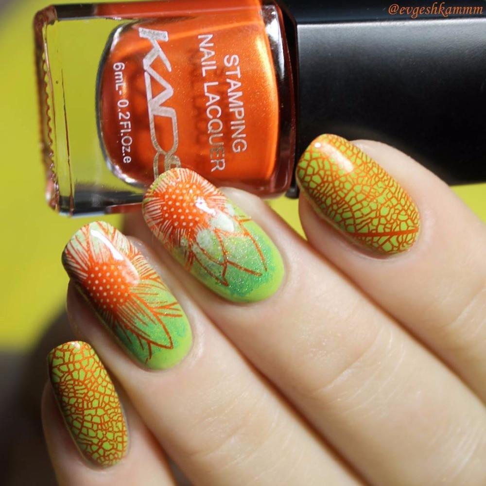 KADS Hot Pearl Orange Nail Art Print Lacquer Nail Stamping