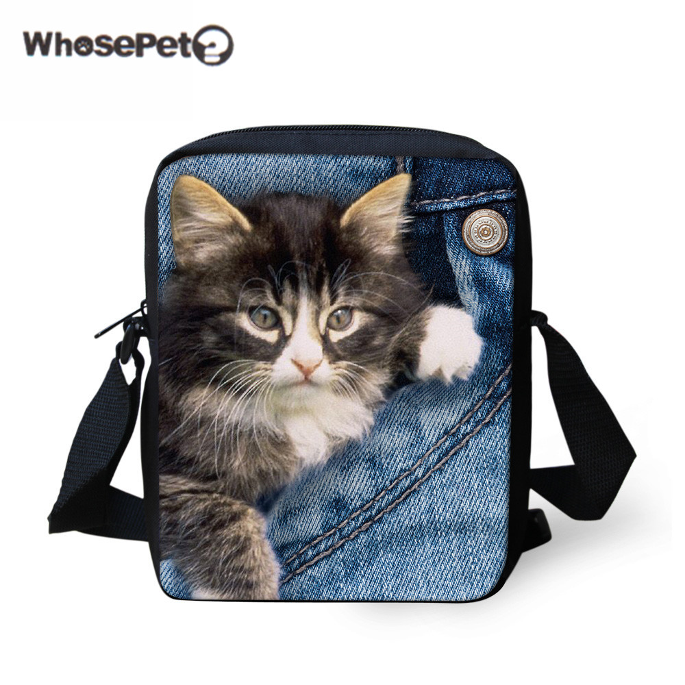 WHOSEPET 3D Cat Schoolbag Kids Girls Cute Mini Book Bag For kindergarten Denim Dog Mini Shoulder Bag Children Mochila Wholesale