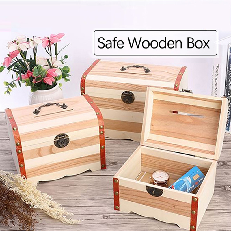 Vintage Wooden Lock Jewelry Storage Trinket Box Container Holder Case Shan