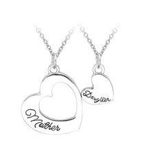 "2pcs/set Engarved ""Mother Daughter"" Double Hollow Heart Pendant Necklace Simple Special Gift For Mother Daughter Family Jewelry(China)"