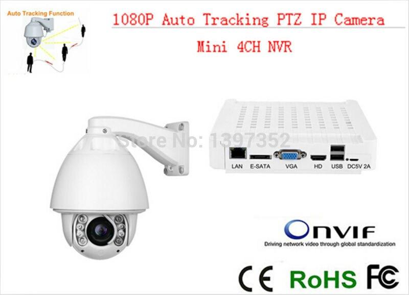 Автоматическое отслеживание IP CCTV Камера ptz высокой Скорость купол Камера ip 20x зум с мини nvr 4ch видеонаблюдения комплект