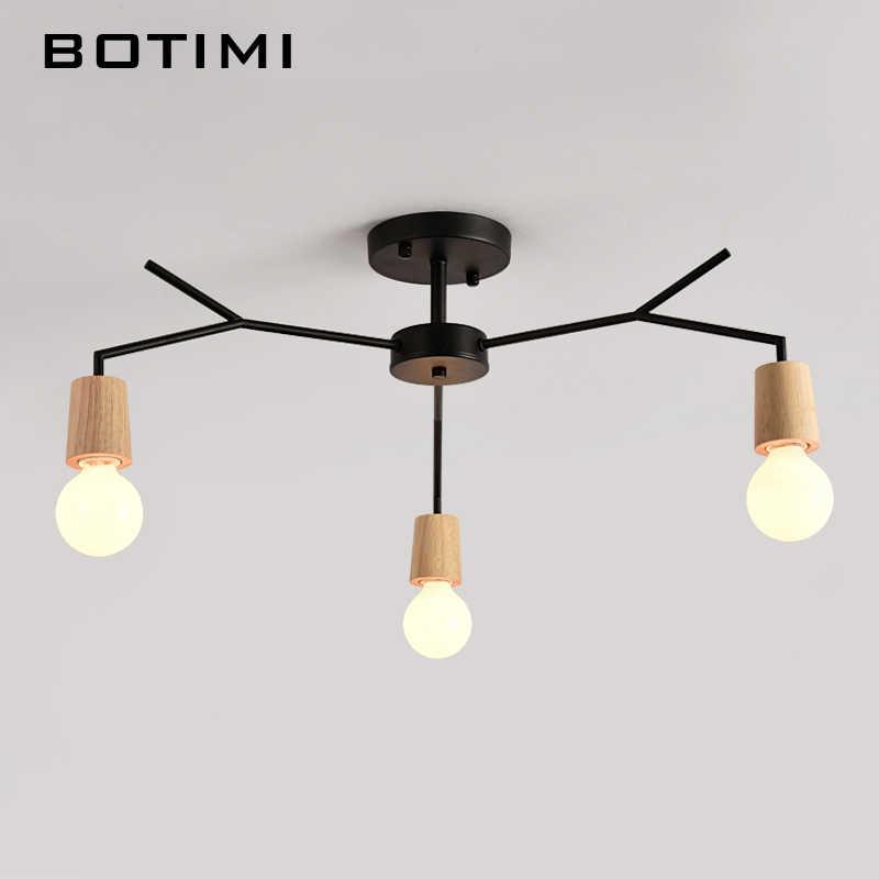 BOTIMI американские Деревянные светодиодный Потолочные светильники для Гостиная Lustres белый черный металлическая потолочная лампа E27 Кухня светильник