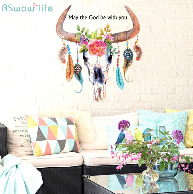 Home Decoration Stickers Creative Horn Feather Bedroom Living Room Wall Decoration PVC Removable Wall Sticker For Home Decor