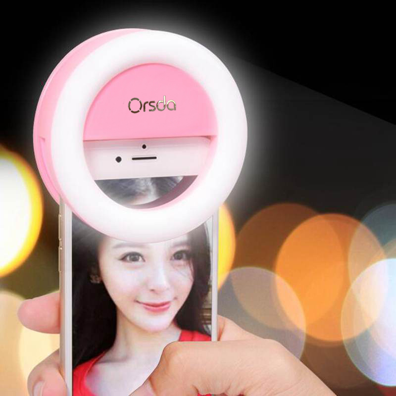 Orsda LED Photography Video Light Up Selfie Luminous Flash Ring Fill Clip Camera Lentes For Mobile Phone For iPhone8 For SAMSUNG(China)