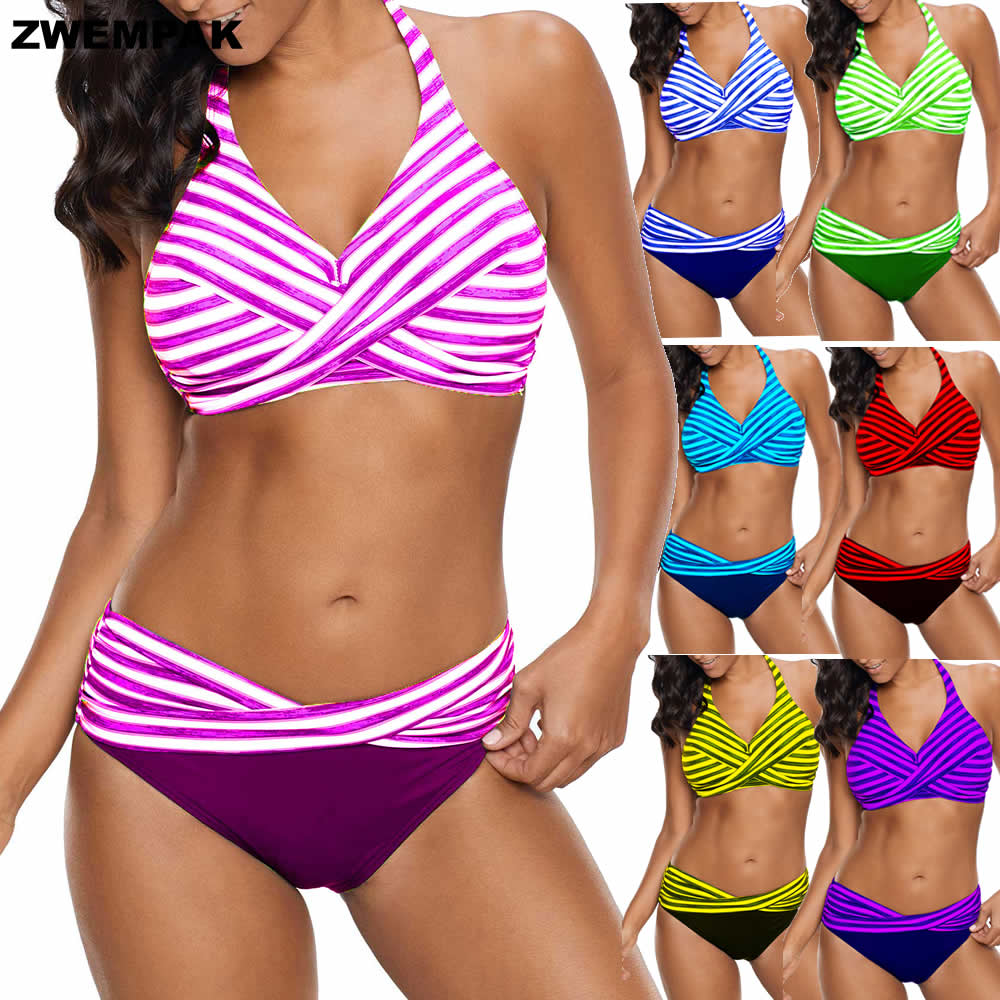 Neon Striped Halter Swimming Suit For Women Summer <font><b>Sexy</b></font> Big <font><b>Bikinis</b></font> Set Large Swimwear Ladies Large Beachwear Plus Size <font><b>XL</b></font>-5XL image